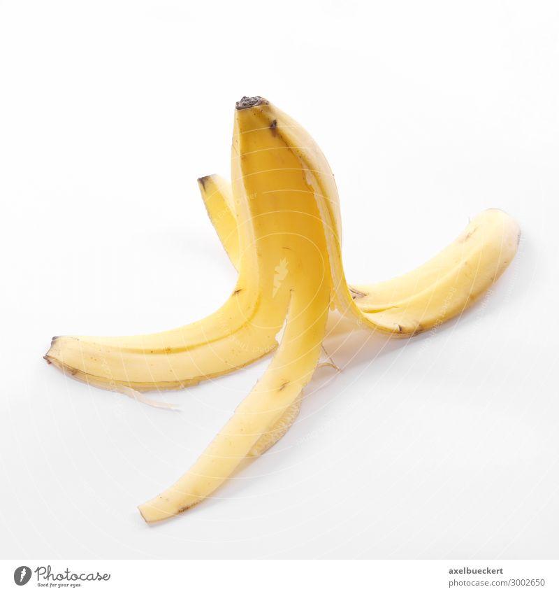 Bananenschale Lebensmittel gelb Frucht Ernährung Symbole & Metaphern Risiko Vegetarische Ernährung ausrutschen wegwerfen Slapstick Vor hellem Hintergrund