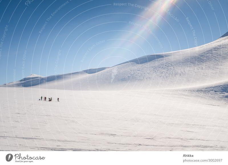 Gruppe von Skifahrern in Gletscherlandschaft Ferien & Urlaub & Reisen Landschaft Einsamkeit Winter Ferne Wege & Pfade Schnee Menschengruppe leuchten Abenteuer