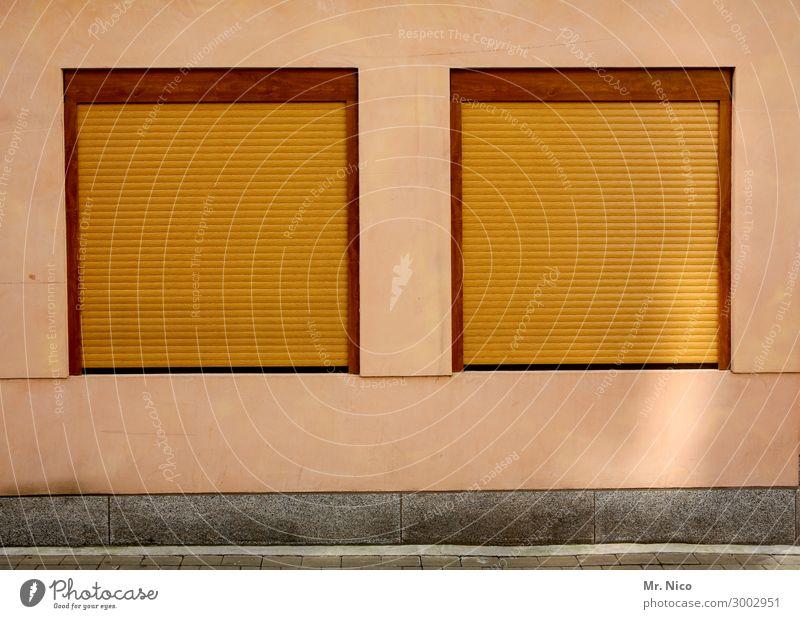 Zwillinge Häusliches Leben Haus Dorf Stadt Mauer Wand Fassade Fenster gelb geschlossen Rollladen Jalousie Stadtleben Strukturen & Formen gleich identisch 2