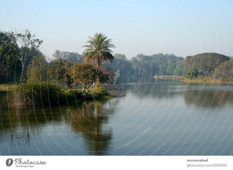 See und Landschaft ruhig Natur Pflanze Himmel Baum Blatt Teich schön blau grün Coolness friedlich Gelassenheit Wasser Windstille Spiegelbild Szene Panorama