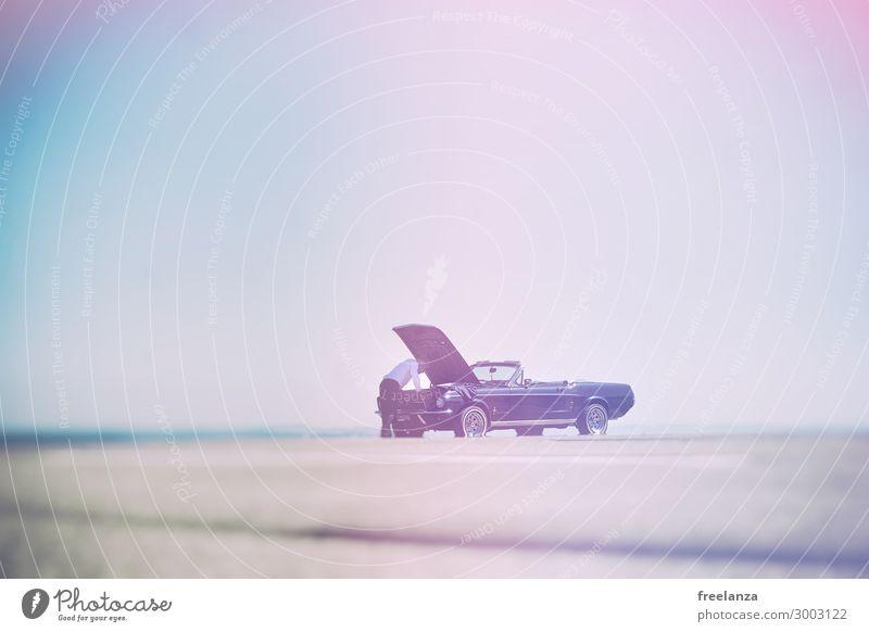 Oldtimer Panne Freizeit & Hobby PKW Cabrio Ferien & Urlaub & Reisen Ausflug Sommer Verlierer Fahrschule Werkzeug Maschine Motor Getriebe Technik & Technologie