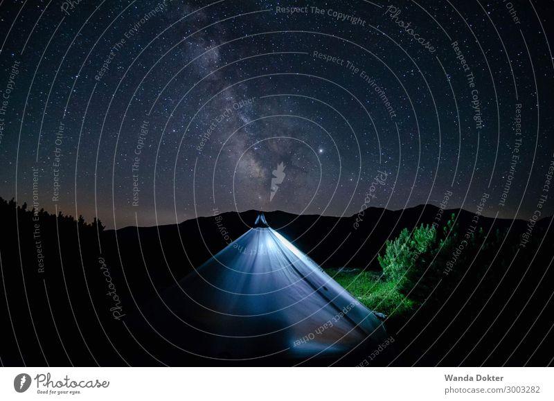 Milkyway Tent Natur Sommer Landschaft Erholung Berge u. Gebirge Lifestyle Umwelt Freizeit & Hobby wandern leuchten träumen glänzend ästhetisch Abenteuer