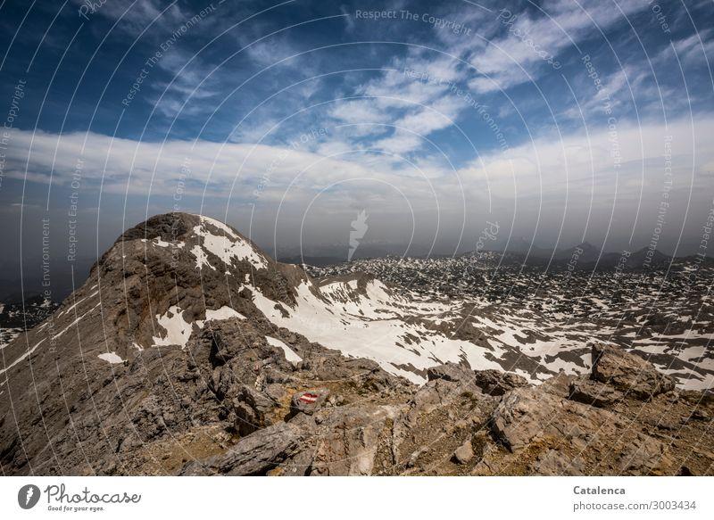 Luftig | der Wanderweg Himmel Sommer blau weiß Landschaft Erholung Berge u. Gebirge natürlich Schnee braun Felsen Stimmung Horizont wandern Erfolg Lebensfreude