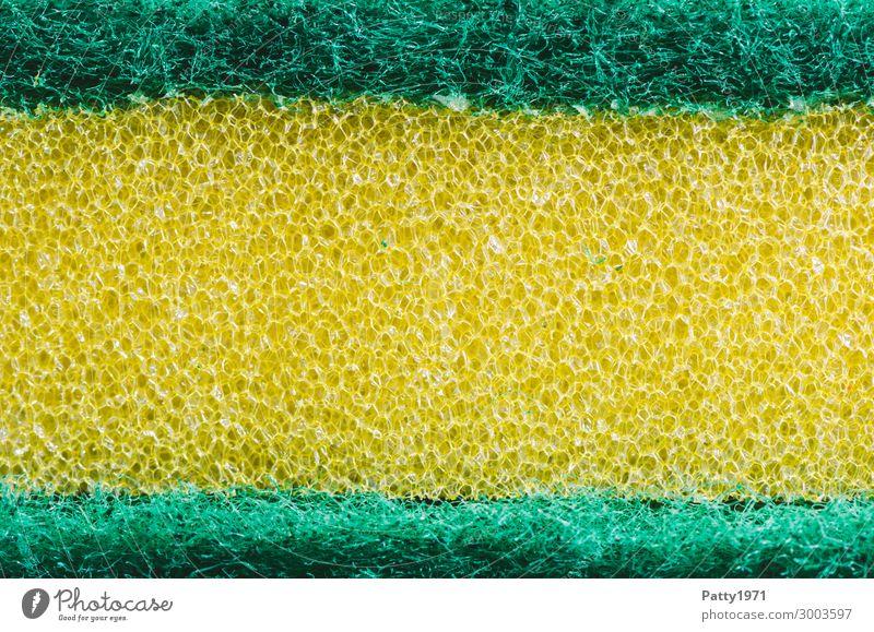 Küchenschwamm (Makro) Häusliches Leben Wohnung Bad Schwamm Oberflächenstruktur Kunststoff Sauberkeit gelb grün rein Reinigen Reinigungsmittel kratzig kraus