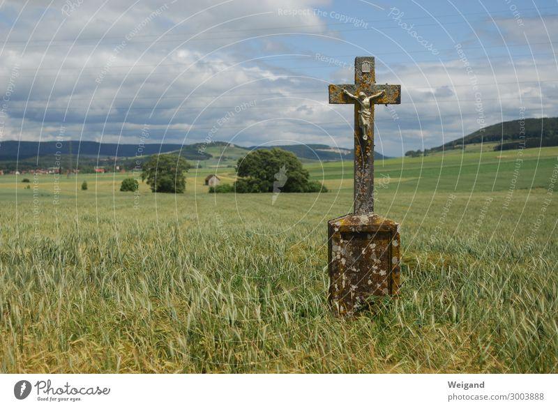 Kreuz Trauerfeier Beerdigung Kirche Stein hängen ruhig Christliches Kreuz Christentum Jesus Christus Gebet Feldkreuz Spiritualität Getreide Farbfoto