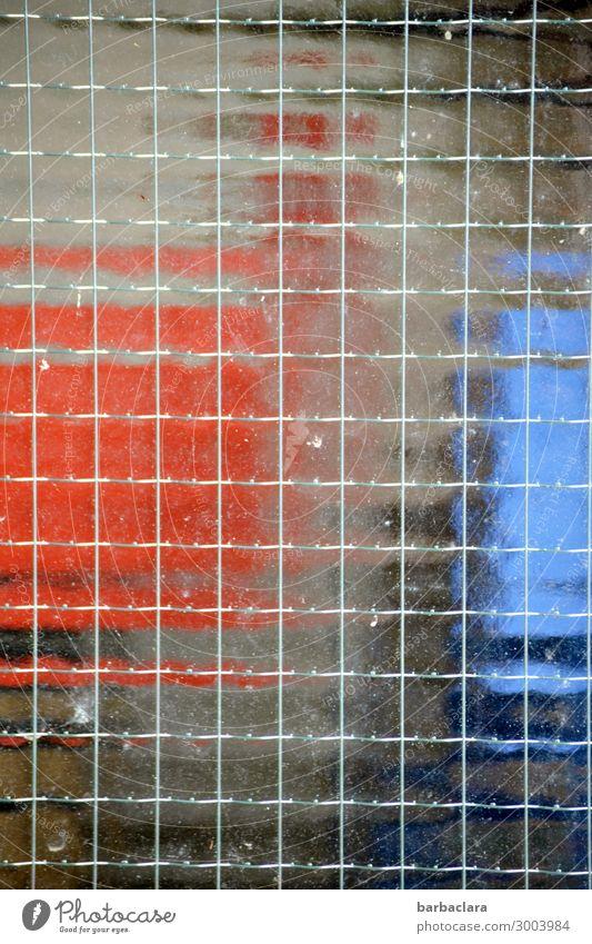 unscharf | hinter Glas Technik & Technologie Fassade Fenster Kasten Container Metall Linie eckig blau rot Stadt Farbfoto Außenaufnahme Detailaufnahme abstrakt