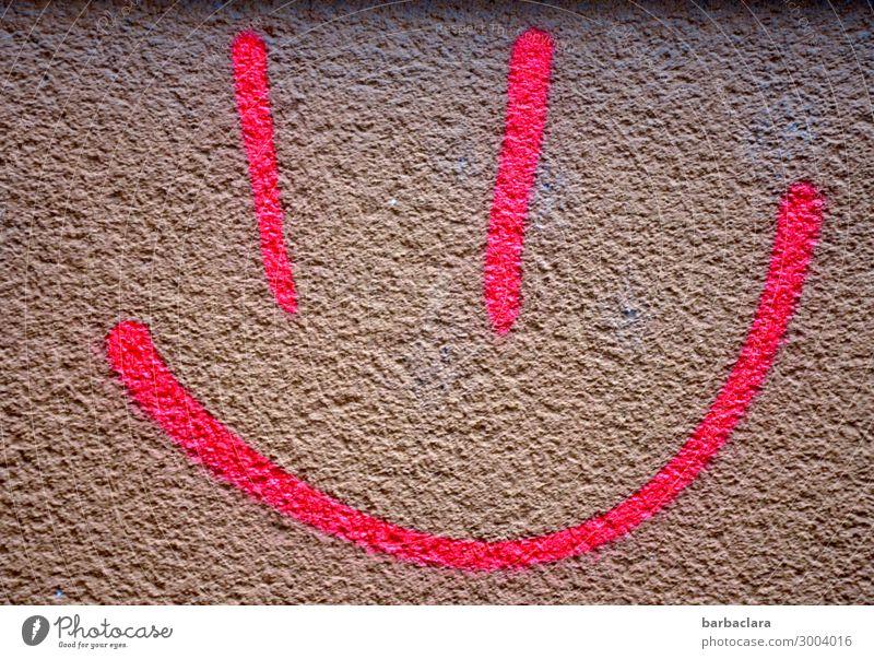 Firlefanz | Smiley Gesicht Mauer Wand Fassade Zeichen Graffiti Linie Lächeln lachen Fröhlichkeit lustig rosa Gefühle Stimmung Freude Farbe Kreativität Stadt