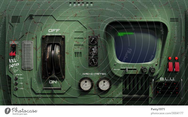 SciFi Retro Schalttafel - 3D Render grün schwarz Graffiti Design retro Schriftzeichen dreckig Kommunizieren Technik & Technologie Telekommunikation Computer