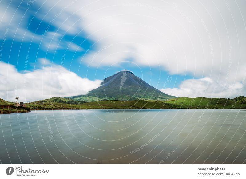 Vulkan Pico & See, Azoren, Portugal, gegen blauen Himmel Ferien & Urlaub & Reisen Tourismus Ausflug Abenteuer Ferne Freiheit Safari Expedition Sommer