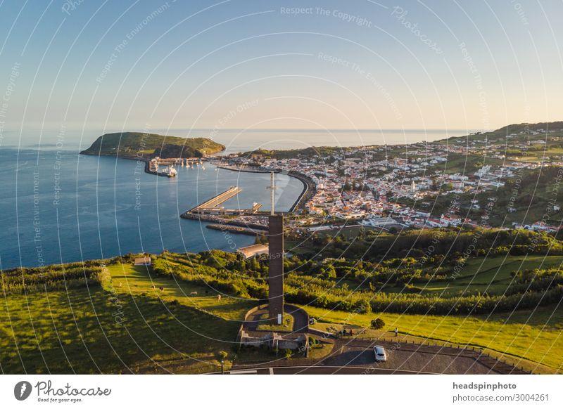 Der berühmte Segler Hafen Horta, Faial, Azoren Ferien & Urlaub & Reisen Tourismus Ausflug Abenteuer Kreuzfahrt Landschaft Vulkan Küste Portugal Hafenstadt blau