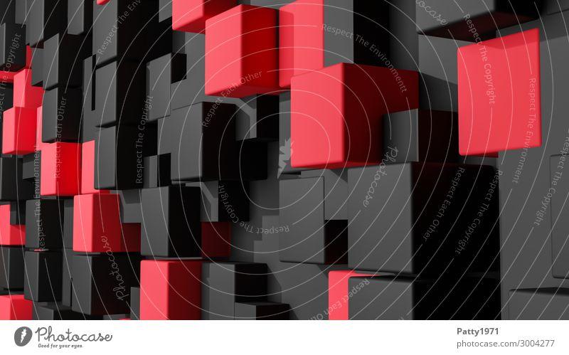 Kubus Wand - 3D Render rot schwarz Hintergrundbild Business modern eckig bizarr Symmetrie Würfel dreidimensional