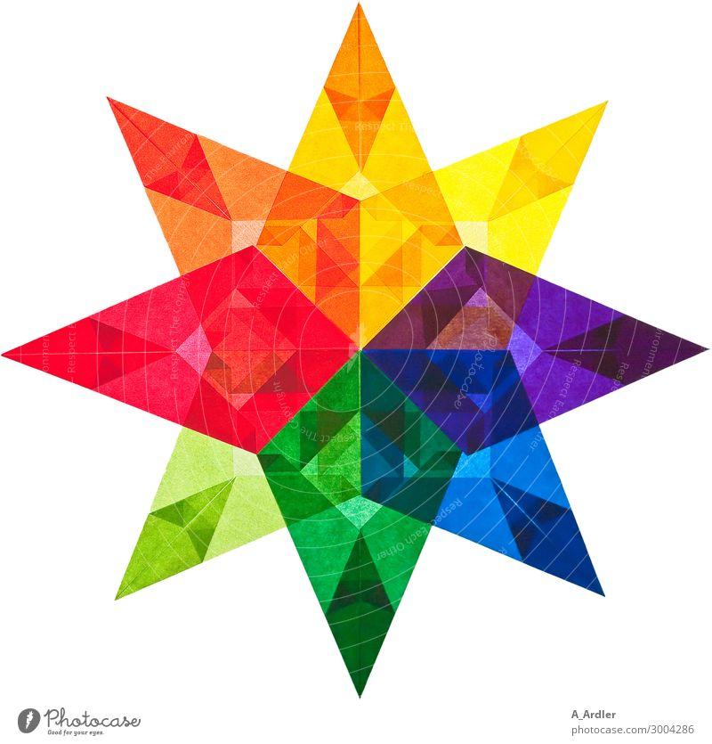 Ein bunter Stern aus Transparentpapier Kunst Papier Dekoration & Verzierung Transparente durchsichtig Stern (Symbol) Zeichen Ornament eckig stachelig mehrfarbig