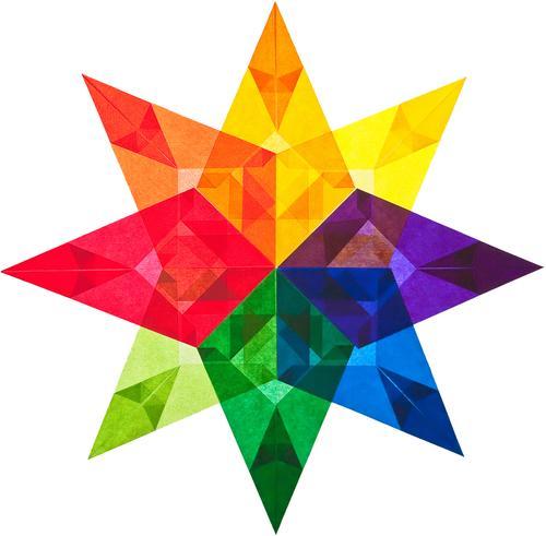Ein bunter Stern aus Transparentpapier Weihnachten & Advent grün weiß rot schwarz gelb Kunst orange rosa Dekoration & Verzierung Stern (Symbol) Papier Zeichen
