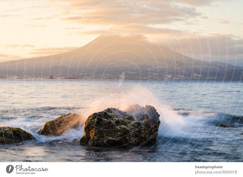 Sonnenaufgang mit Vulkaninsel Pico & Atlantik, Azoren, Portugal Erholung ruhig Meditation Duft Ferien & Urlaub & Reisen Tourismus Ausflug Freiheit Kreuzfahrt