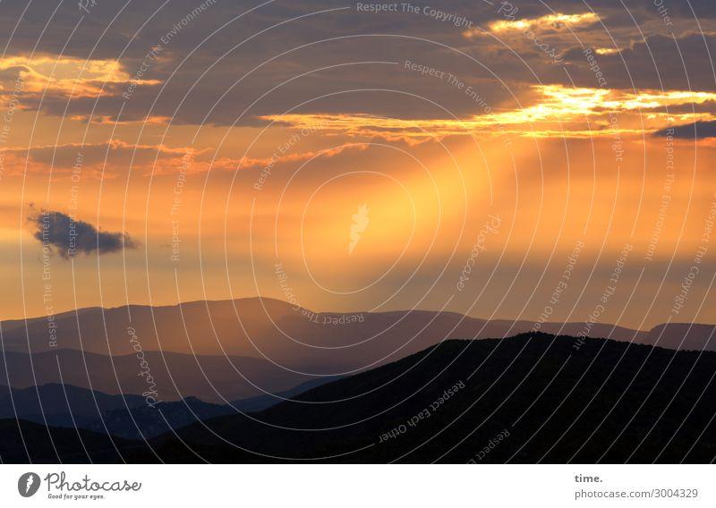 ein neuer Tag Umwelt Natur Landschaft Himmel Wolken Horizont Sonne Sonnenaufgang Sonnenuntergang Schönes Wetter Berge u. Gebirge Bergkette Gefühle Stimmung