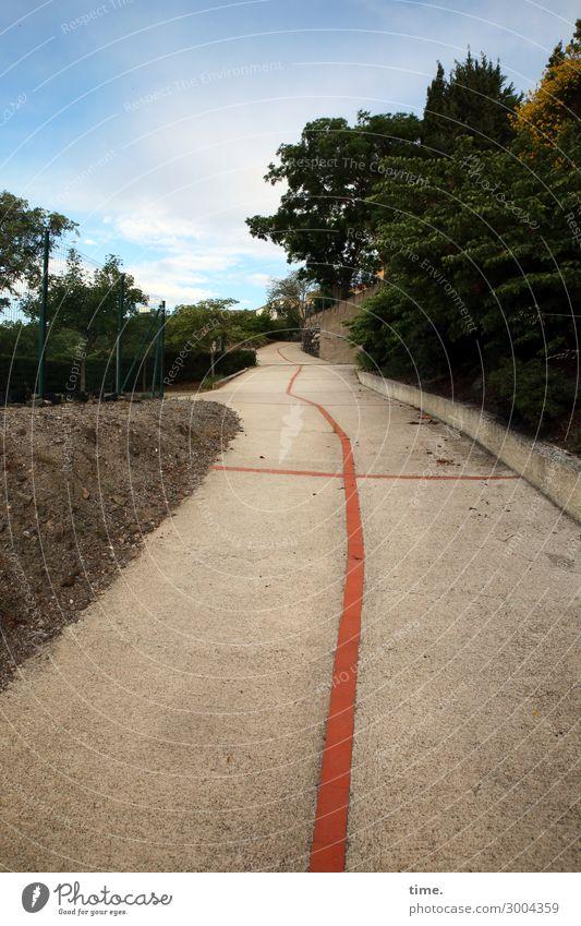 Gehhilfe (nach der Kneipe) | on the road again Himmel Pflanze Stadt Landschaft Baum Ferne Straße Umwelt Wege & Pfade Bewegung Stein orange Design Linie