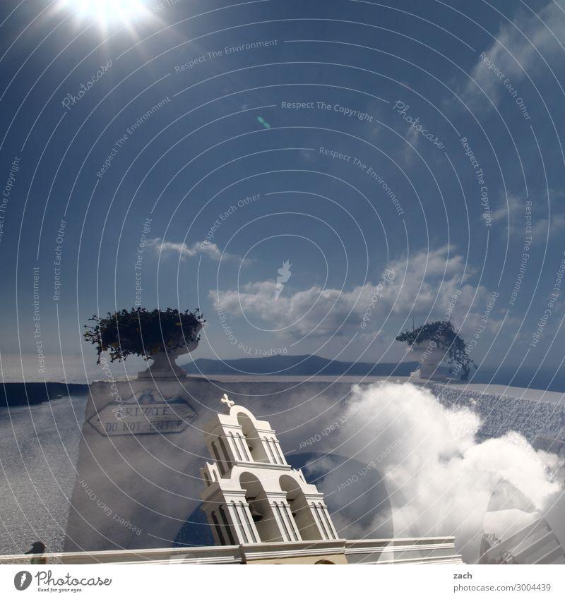 Realität ist nur ein Traum Himmel Sonne Schönes Wetter Grünpflanze Hügel Vulkan Caldera Küste Meer Mittelmeer Ägäis Insel Kykladen Santorin Griechenland Dorf
