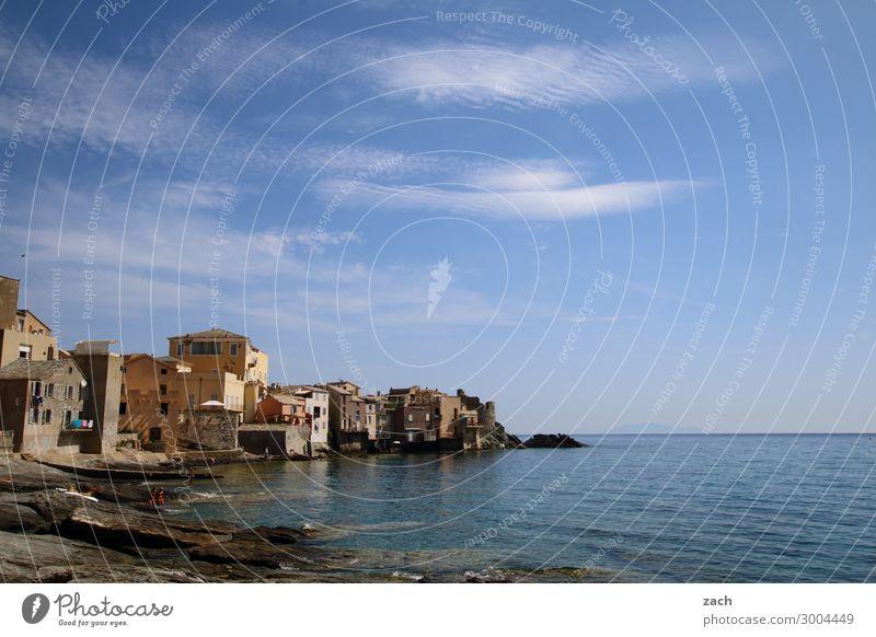 . Wasser Himmel Schönes Wetter Küste Meer Mittelmeer Insel Korsika Frankreich Dorf Fischerdorf Haus Hütte Hafen maritim blau Idylle Cap Corse Farbfoto