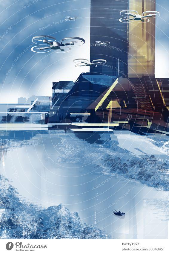 Der Angelausflug - Illustration Angeln Fluggerät Technik & Technologie Fortschritt Zukunft High-Tech Luftverkehr Kunst Gemälde Landschaft Flussufer Haus