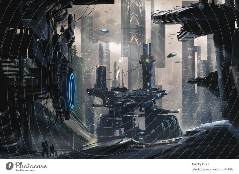Dark Future - Illustration Stadt dunkel schwarz Architektur Gebäude braun Hochhaus Technik & Technologie Luftverkehr Zukunft Industrie Grafik u. Illustration