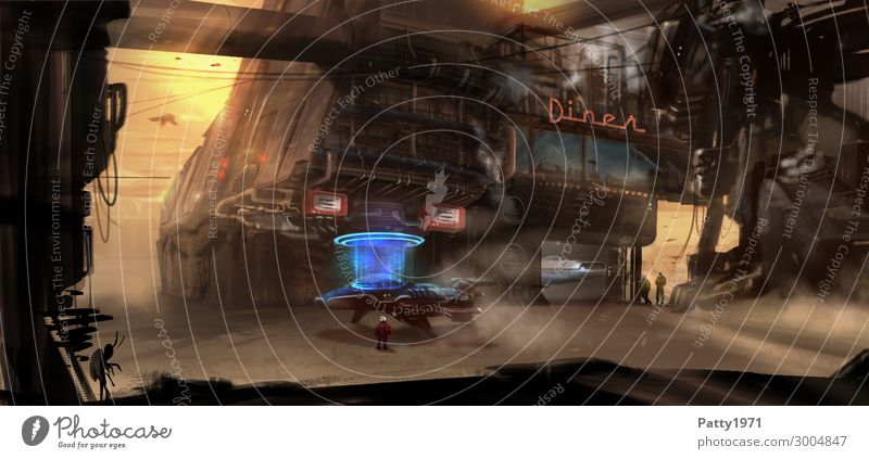 Die Tankstelle - Illustration alt blau Stadt Landschaft dunkel schwarz Architektur Wärme gelb Gebäude braun Sand Technik & Technologie Luftverkehr Abenteuer