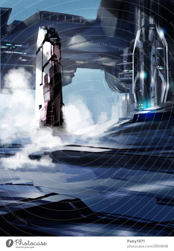 Countdown - Illustration Technik & Technologie Fortschritt Zukunft High-Tech Luftverkehr Raumfahrt Science Fiction Skyline Hochhaus Flughafen Gebäude