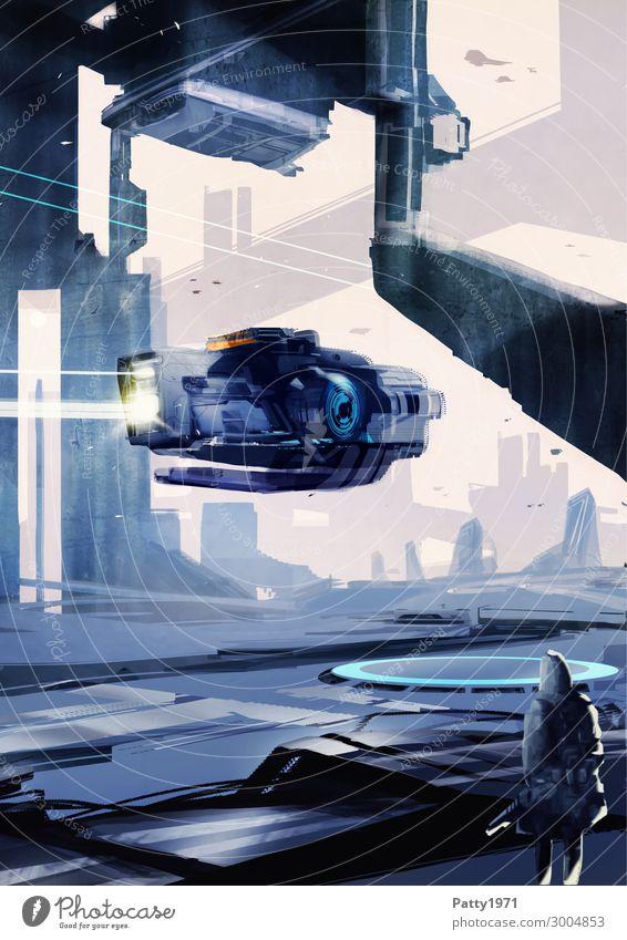 Flyby - Illustration Technik & Technologie Fortschritt Zukunft High-Tech Raumfahrt Science Fiction Stadt Skyline Hochhaus Industrieanlage fliegen dunkel
