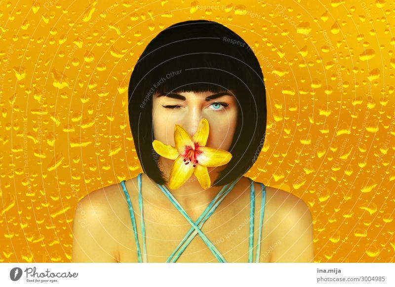 Sag's mir durch die Blume! Frau Mensch Jugendliche Junge Frau Sommer Farbe schön Wasser 18-30 Jahre Gesicht Erwachsene gelb feminin Stil Kunst Körperpflege