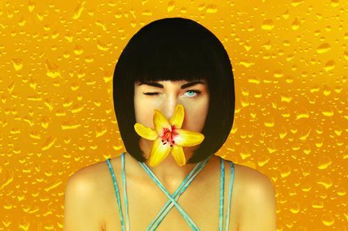 Sag's mir durch die Blume! Stil exotisch schön Körperpflege Flirten Karneval Mensch feminin Junge Frau Jugendliche Erwachsene Gesicht 1 18-30 Jahre Kunst