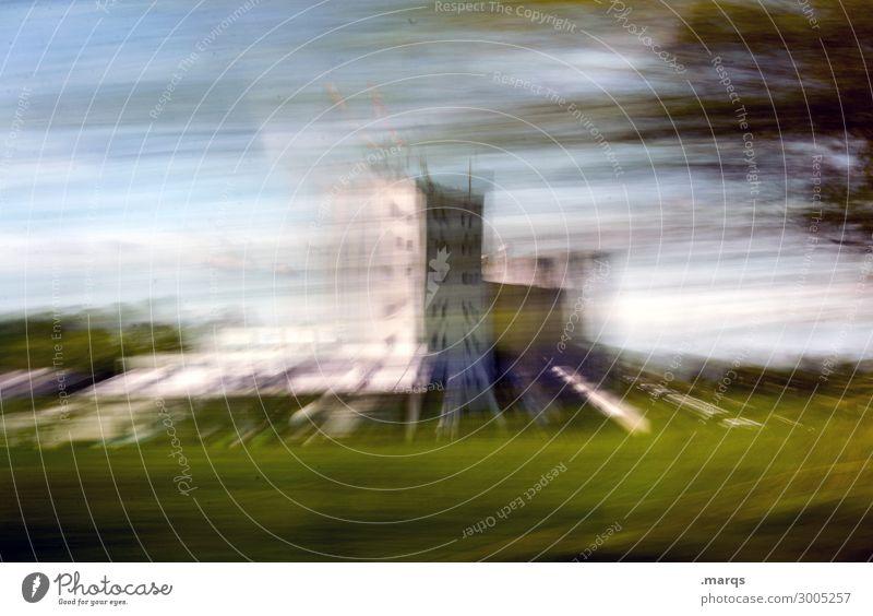 Raum-Zeit-Kontinuum Landschaft Himmel Wolken Baum Wiese Bauwerk Gebäude Architektur Bewegung fahren außergewöhnlich Geschwindigkeit verrückt Mobilität