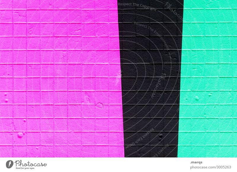 Betonwand Stil Design Mauer Wand Linie Streifen Coolness trendy neu violett schwarz türkis Farbe Zukunft Hintergrundbild Farbfoto Außenaufnahme