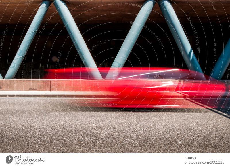 Flitzer rot schwarz Straße Lifestyle Bewegung Stil PKW Verkehr Zukunft Geschwindigkeit Coolness Ziel fahren Stress Verkehrswege Autobahn