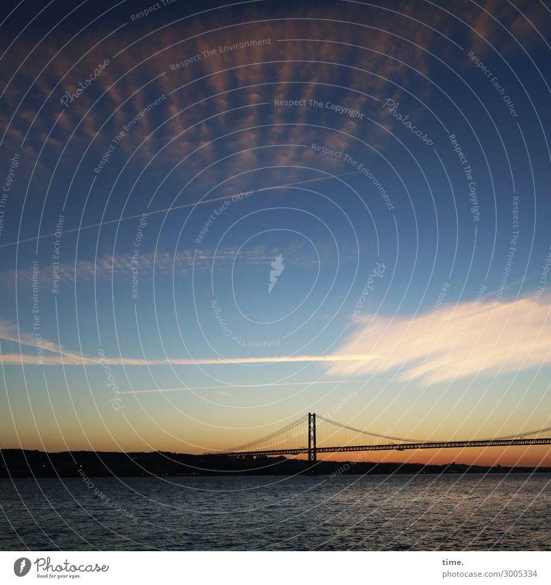 another last evening Luft Wasser Himmel Wolken Sonnenaufgang Sonnenuntergang Schönes Wetter Hügel Wellen Küste Flussufer Brücke schön Romantik dankbar ruhig