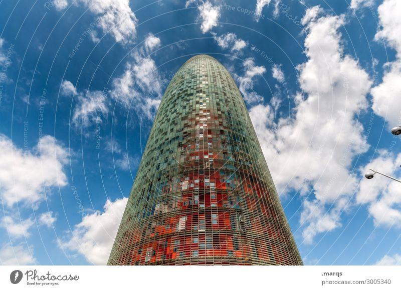 Torre Agbar Himmel Wolken Sommer Schönes Wetter Barcelona Spanien Turm Bauwerk Sehenswürdigkeit Wahrzeichen torre agbar hoch modern Fortschritt Zukunft markant