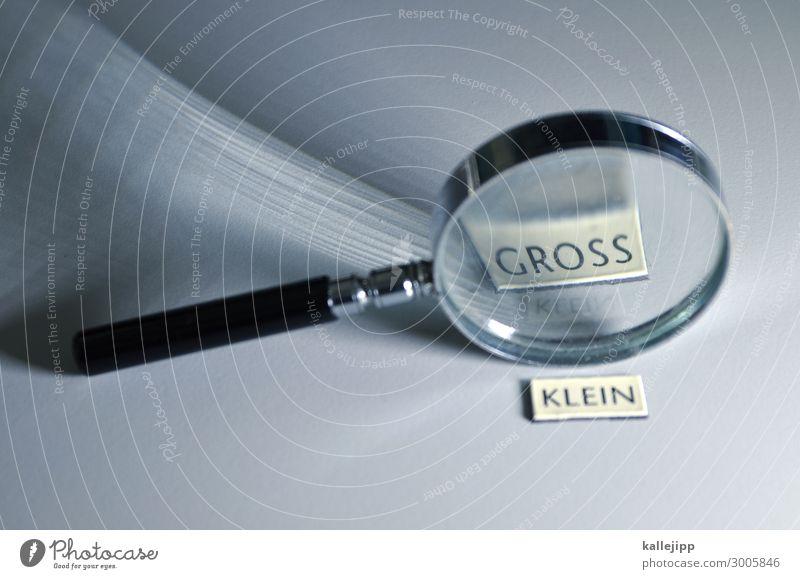 scheinriesen Lupe groß klein Optik vergrößert Glas Wölbung Lichtbrechung vergleichen Buchstaben Wort Linse grau silber Farbfoto Studioaufnahme Nahaufnahme