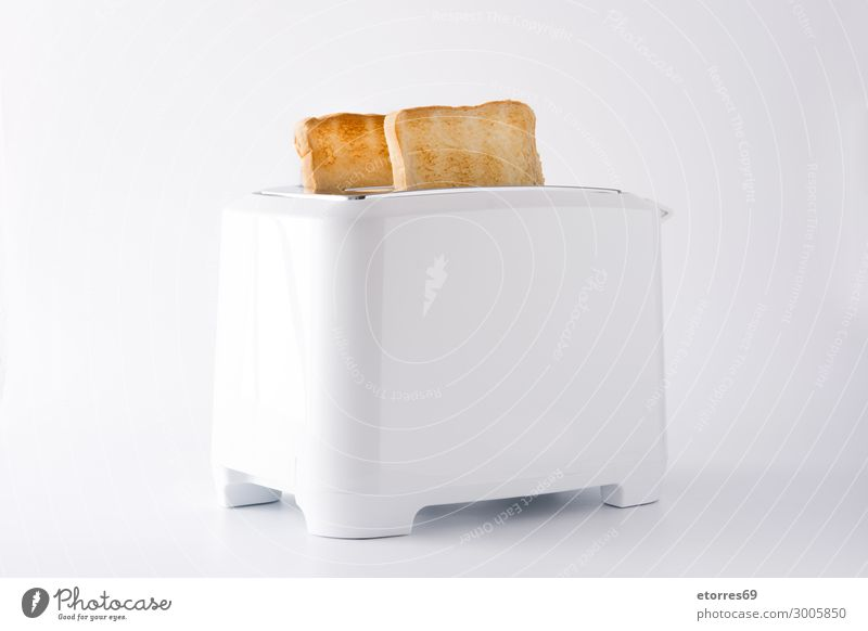 Geröstetes Toastbrot in weißem Toaster isoliert Zuprosten Brot bereit Isoliert (Position) Lebensmittel Gesunde Ernährung Foodfotografie Frühstück Belegtes Brot