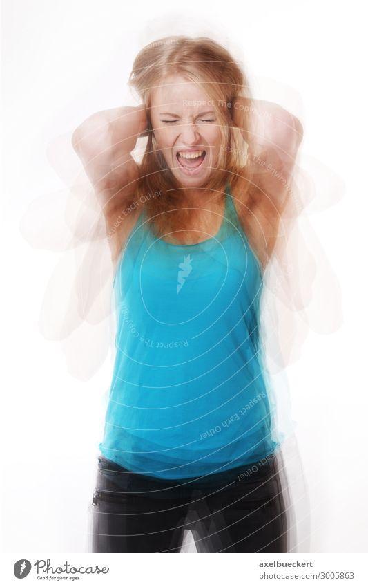 wütende Frau in Rage Mensch Jugendliche Junge Frau 18-30 Jahre Erwachsene feminin Gefühle außergewöhnlich Stimmung Angst verrückt Todesangst Wut Schmerz Stress