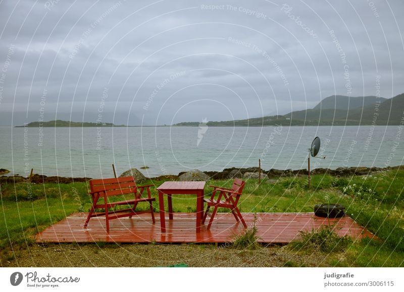 Norwegen Lifestyle Ferien & Urlaub & Reisen Tourismus Ausflug Terrasse Umwelt Natur Landschaft Klima Küste Fjord Möbel Gartenmöbel Tisch Bank Erholung