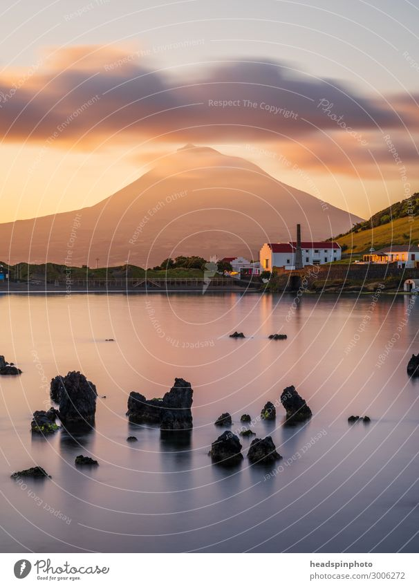 Vulkaninsel Pico, Azoren und der Atlantik bei Sonnenaufgang Ferien & Urlaub & Reisen Tourismus Ferne Sightseeing Kreuzfahrt Landschaft Urelemente Wolken Küste