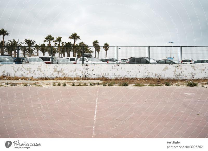 parken Sportstätten Umwelt Stadt Menschenleer Bauwerk Verkehrsmittel Fahrzeug PKW entdecken Ferien & Urlaub & Reisen alt Mauer Zaun Parkplatz Palme Spanien
