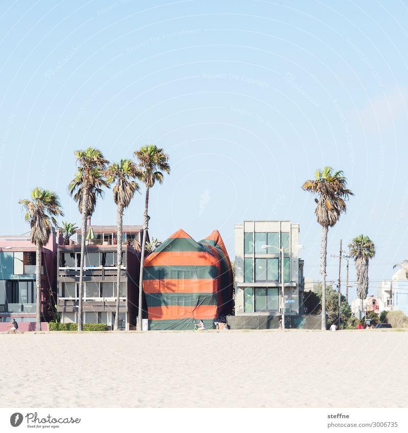 Around the World: Venice Beach Wolkenloser Himmel Schönes Wetter Haus Einfamilienhaus Traumhaus Fassade Erholung Ferien & Urlaub & Reisen Strand Palme