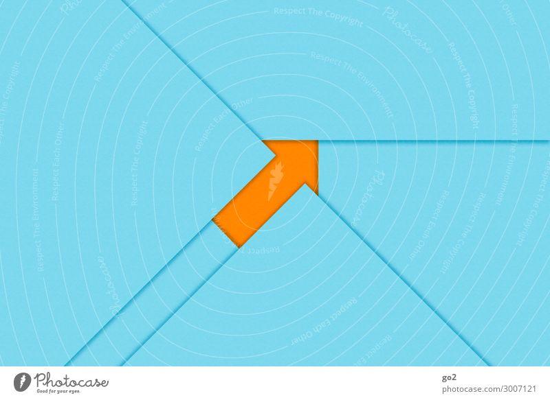 Pfeil nach oben blau Wege & Pfade orange Kommunizieren Kraft ästhetisch Erfolg Perspektive Papier Zeichen planen Ziel Inspiration positiv Basteln