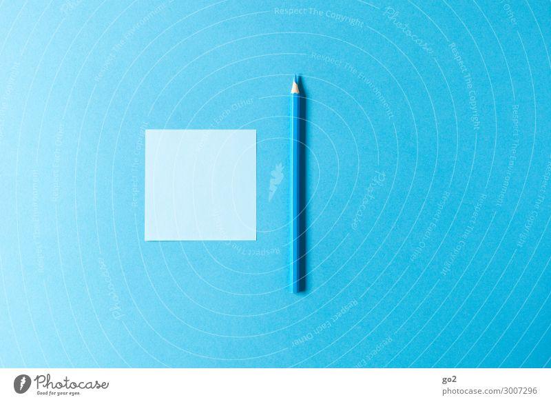 Blauer Zettel, blauer Stift Freizeit & Hobby Büro Werbebranche Schreibwaren Papier Schreibstift zeichnen ästhetisch einfach Design Farbe Inspiration
