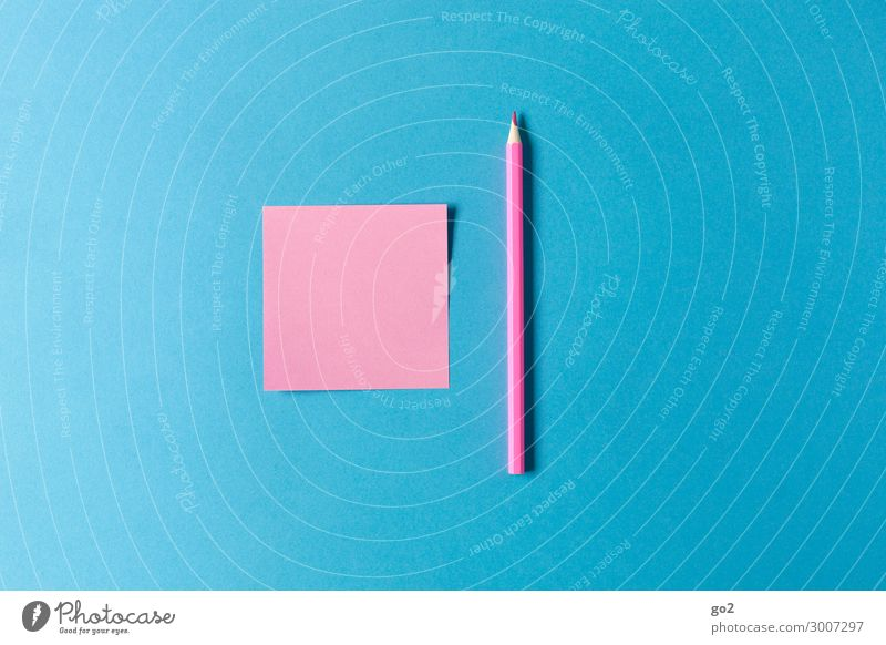 Rosa Zettel, rosa Stift Kindererziehung Bildung Schule Arbeitsplatz Büro Werbebranche Schreibwaren Papier Schreibstift zeichnen ästhetisch blau Farbe Idee