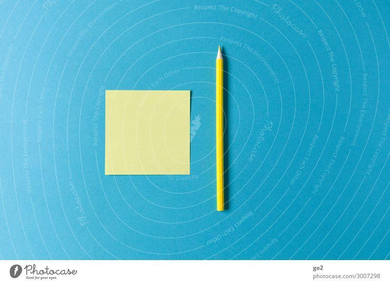Gelber Zettel und Stift auf Blau Freizeit & Hobby Bildung Schule lernen Studium Büroarbeit Arbeitsplatz Sitzung Schreibwaren Papier Schreibstift zeichnen