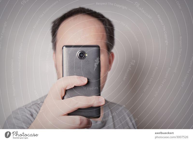 Zyklop ( Mann macht Selfie ) Lifestyle Freizeit & Hobby Telefon Handy PDA Technik & Technologie Unterhaltungselektronik Fortschritt Zukunft Telekommunikation