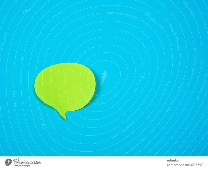 grüner Aufkleber in Form einer Wolke Büro Business sprechen Papier blau Farbe Entwurf Schaumblase Rede Mitteilung erinnern Klebstoff Hintergrund blanko Element