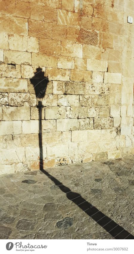 Schatten von alter Straßenlaterne vor historischer Mauer Altstadt Wand Fassade Straßenbeleuchtung Langer Schatten Stadtmauer gemauert Farbfoto Außenaufnahme