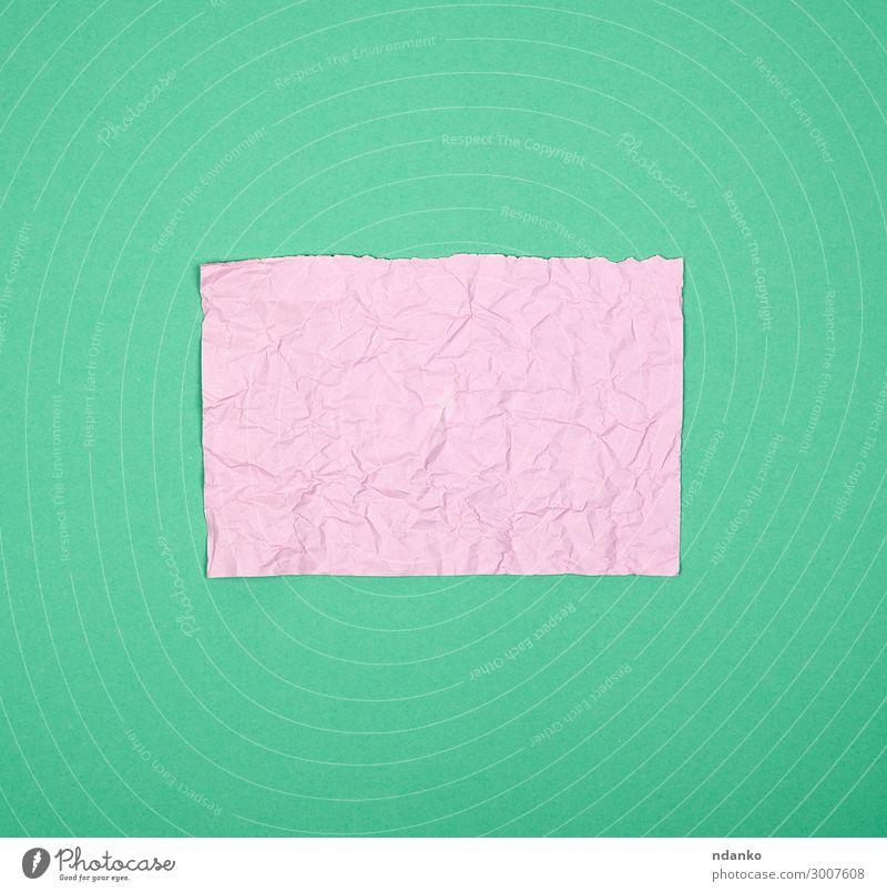 leeres, zerknittertes, rosa, rechteckiges Blatt Papier Schule Büro Business Buch Sauberkeit grün Hintergrund Winkel blanko Bügelfalte Tagebuch Schriftstück