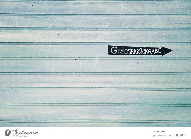 aufforderung zur mithilfe blau Richtung Pfeil Restaurant Café gestreift Holzwand Anstrich Anweisung auffordern